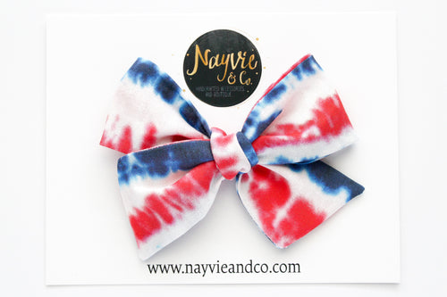 Red, White and Blue Tie Dye Hand Tied Bow