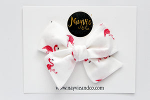 Small Flamingos Hand Tied Bow