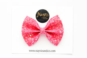 Neon Pink Glitter Bow