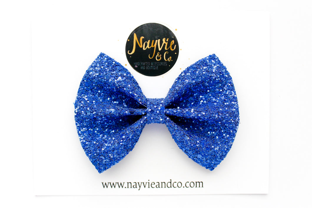 Blue Blood Glitter Bow