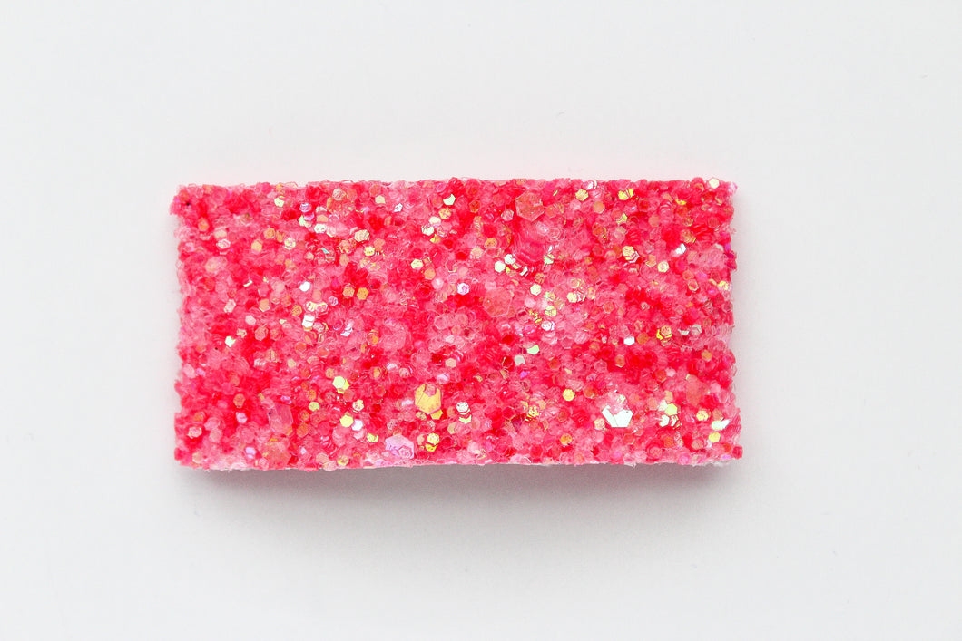 Neon Pink Glitter Snap Clip