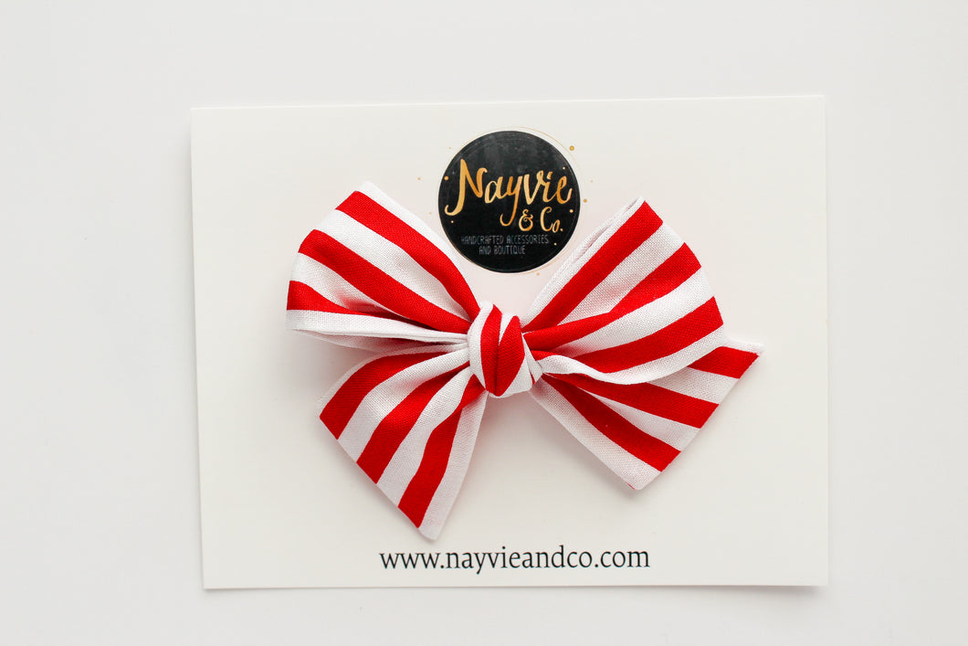 Red and White Stripes Hand Tied Bow