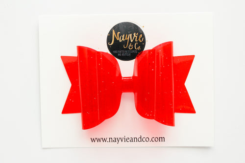 Red Glitter Pool Dolly Bow