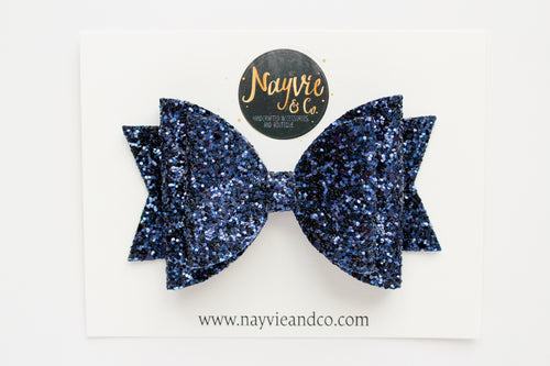 Navy Blue Dolly Bow