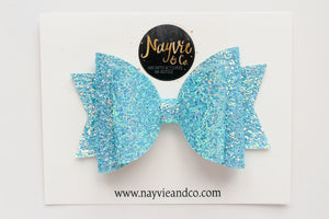 Blue Shimmer Dolly Bow