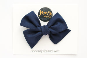 Navy Blue Hand-tied Bow