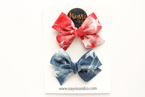 Distressed Stars Hand-tied Bow Piggy Set