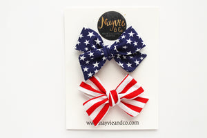 Stars and Stripes Hand-tied Bow Piggy Set