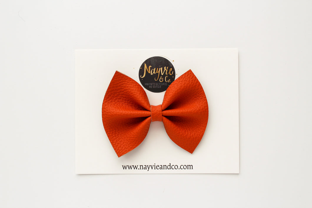 Pumpkin Faux Leather Bow
