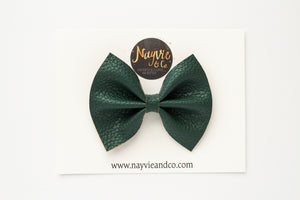 Evergreen Faux Leather Bow