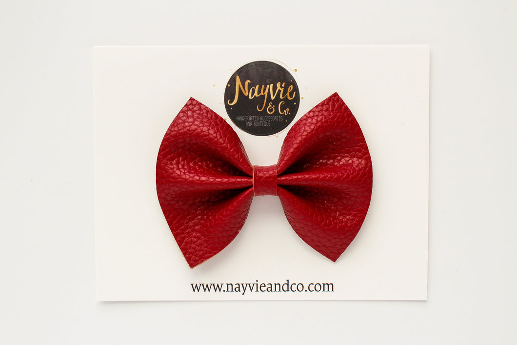 Barn Red Faux Leather Bow