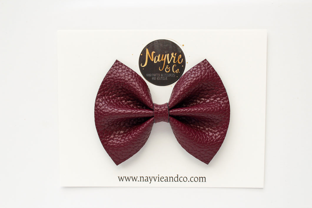 Plum Faux Leather Bow