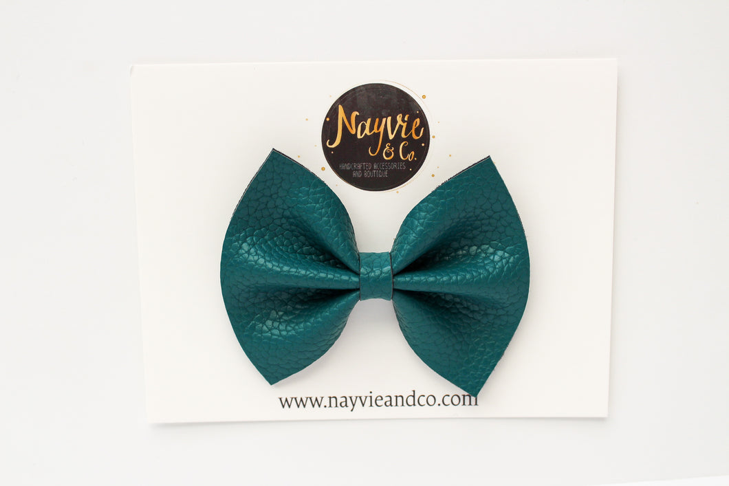 Teal Faux Leather Bow