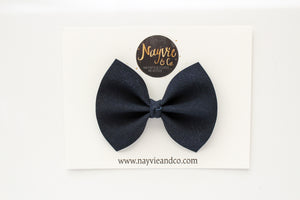 Navy Faux Suede Bow