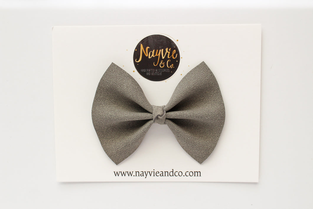 Stone Faux Suede Bow