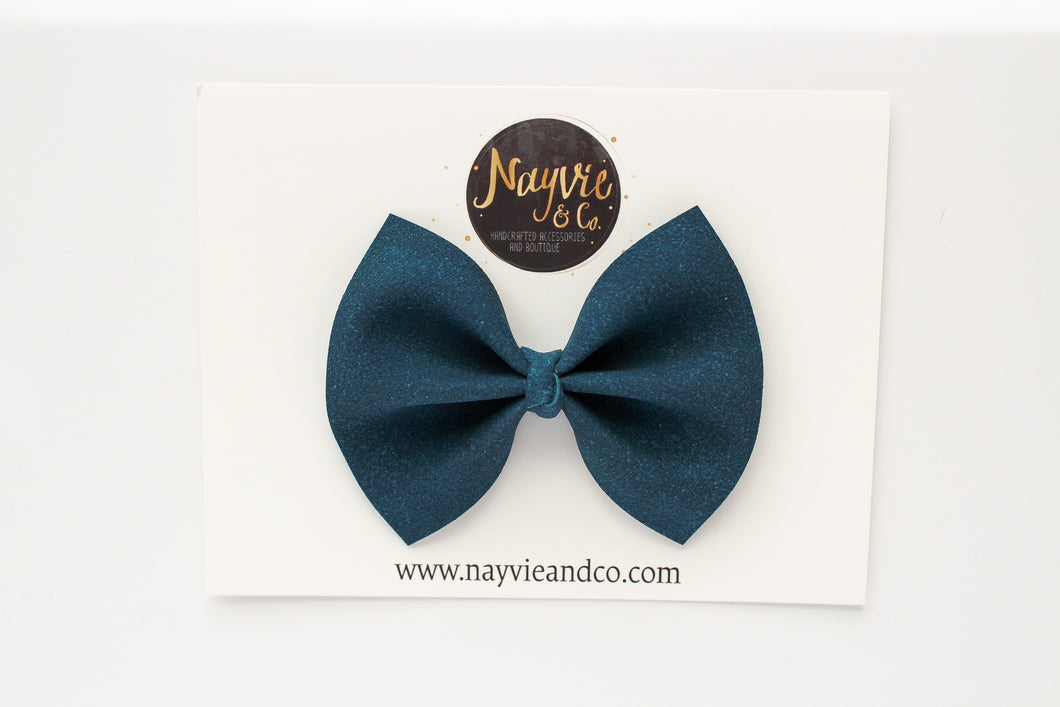 Peacock Faux Suede Bow