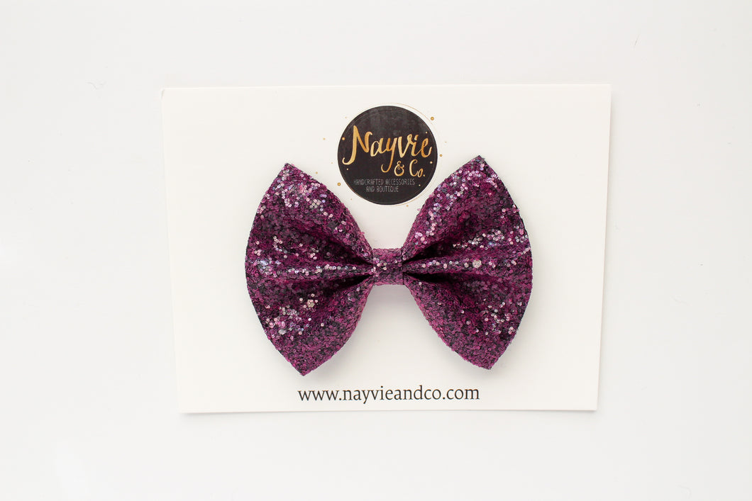 Mulberry Glitter Bow