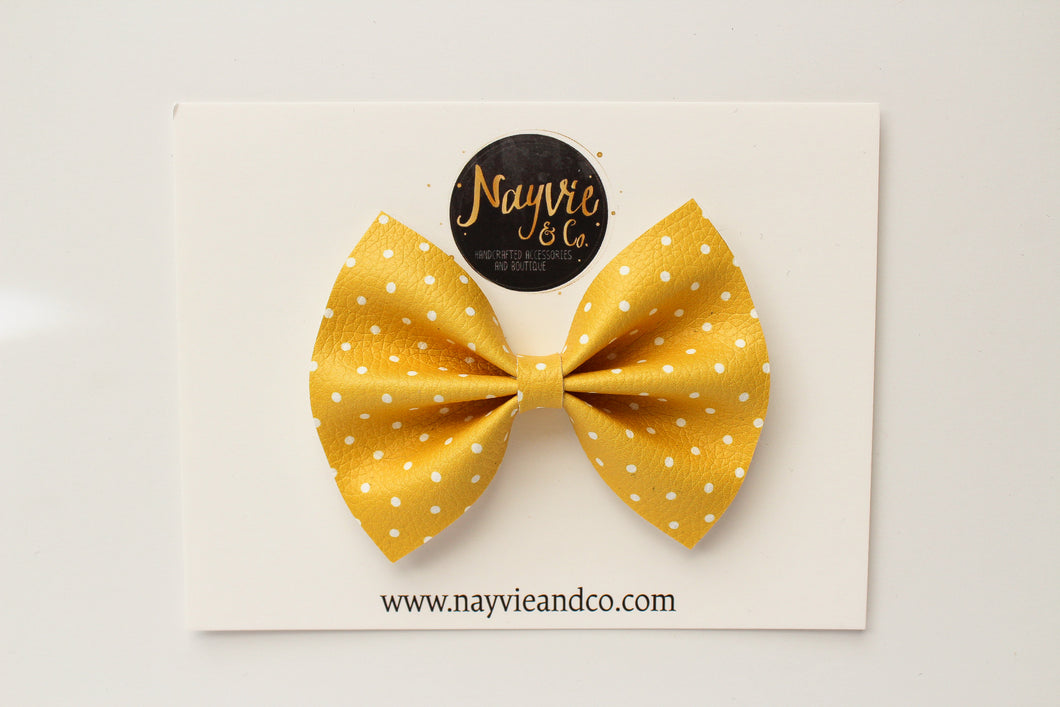 Yellow Dot Faux Leather Bow