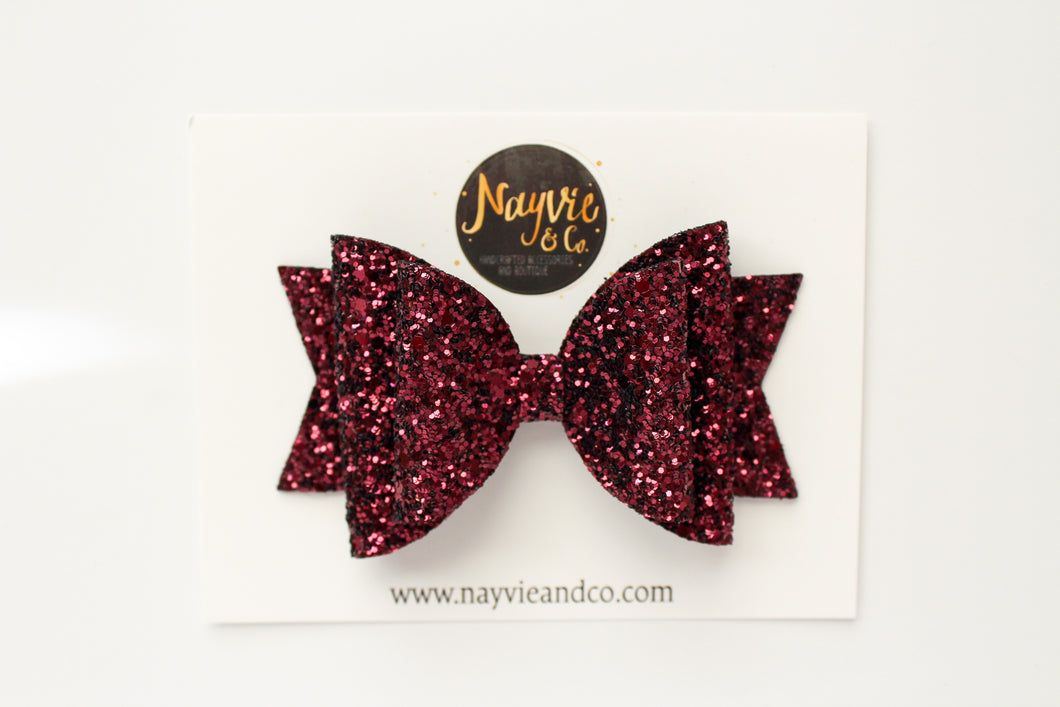 Cranberry Glitter Dolly Bow