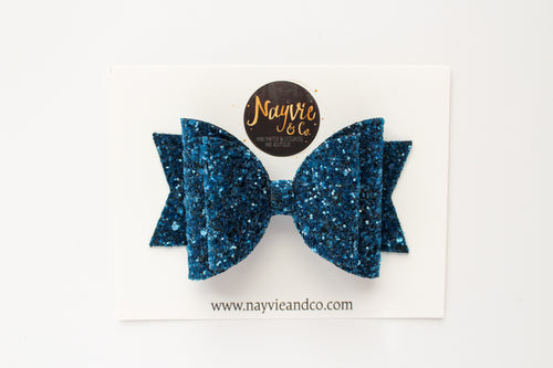 Blue Topaz Glitter Dolly Bow