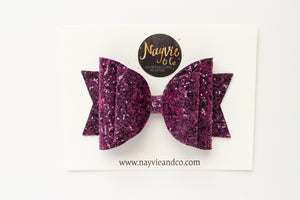 Mulberry Glitter Dolly Bow