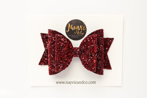 Merlot Glitter Dolly Bow