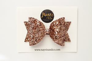 Ultimate Rose Gold Glitter Dolly Bow