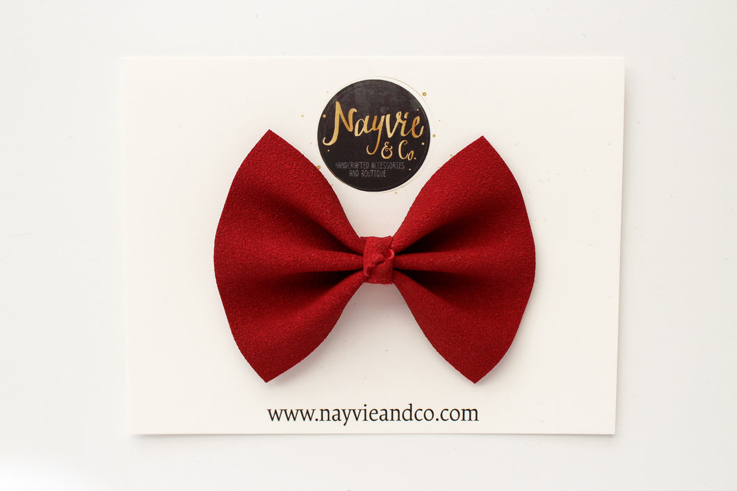 Red Faux Suede Bow