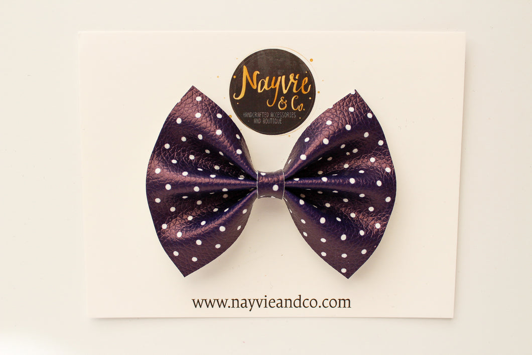 Navy Dot Faux Leather Bow