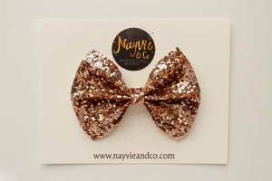 Ultimate Rose Gold Glitter Bow