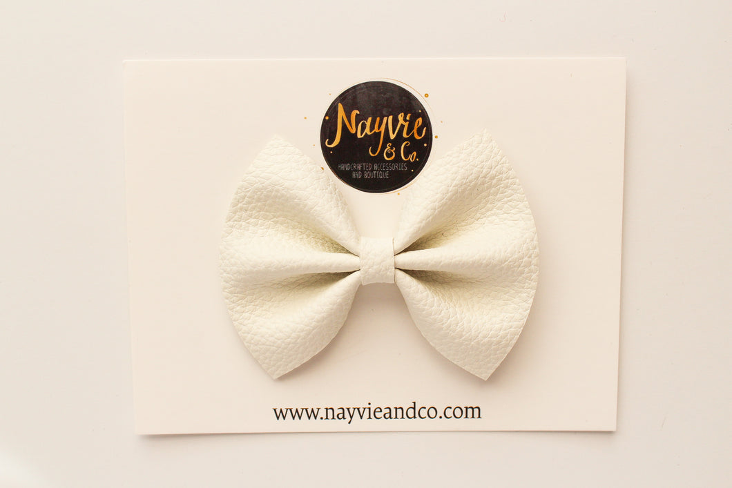 White Faux Leather Bow
