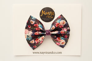 Dark Fall Floral Faux Leather Bow