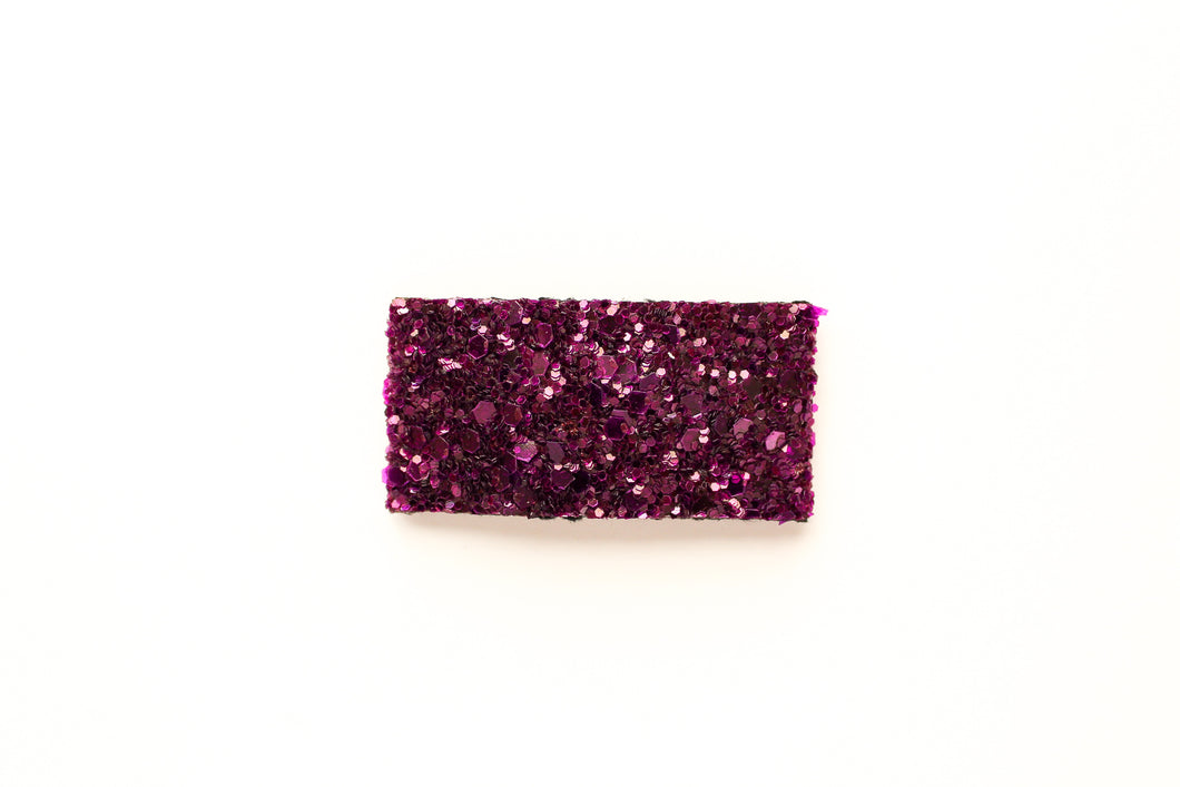 Amethyst Purple Glitter Snap OR Bar Clip