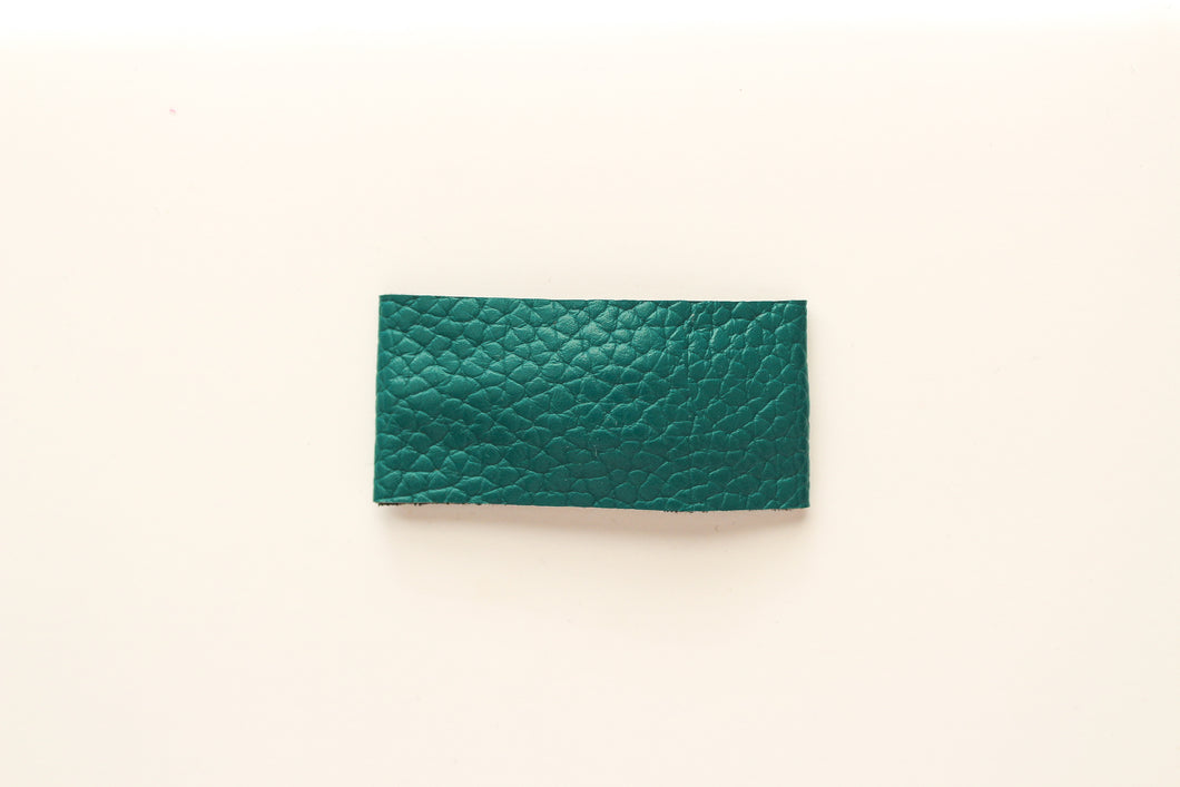Teal Faux Leather Snap Clip