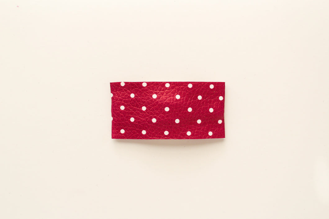 Berry Dot Faux Leather Snap Clip