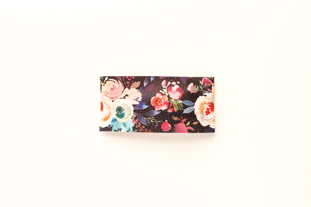 Dark Fall Floral Faux Leather Snap Clip