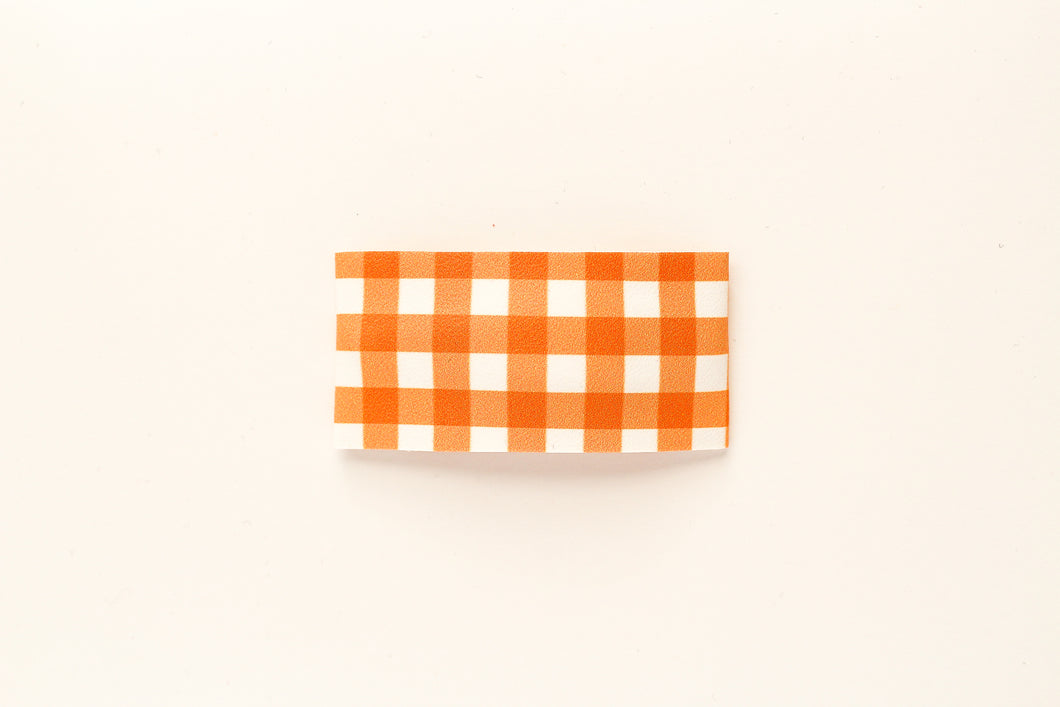 Pumpkin Gingham Faux Leather Snap Clip
