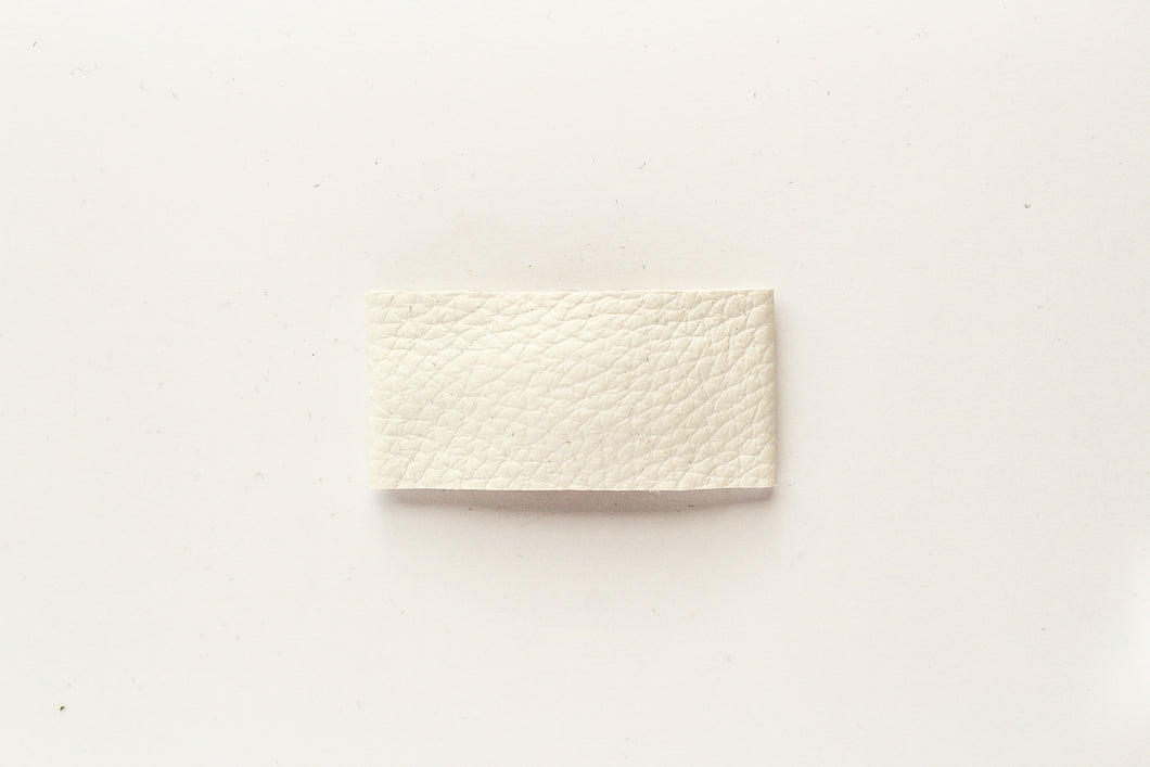 White Faux Leather Snap Clip