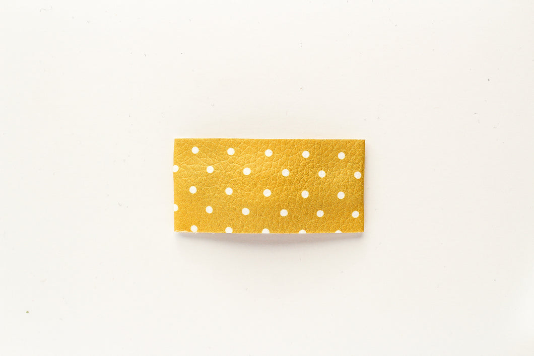 Yellow Dot Faux Leather Snap Clip