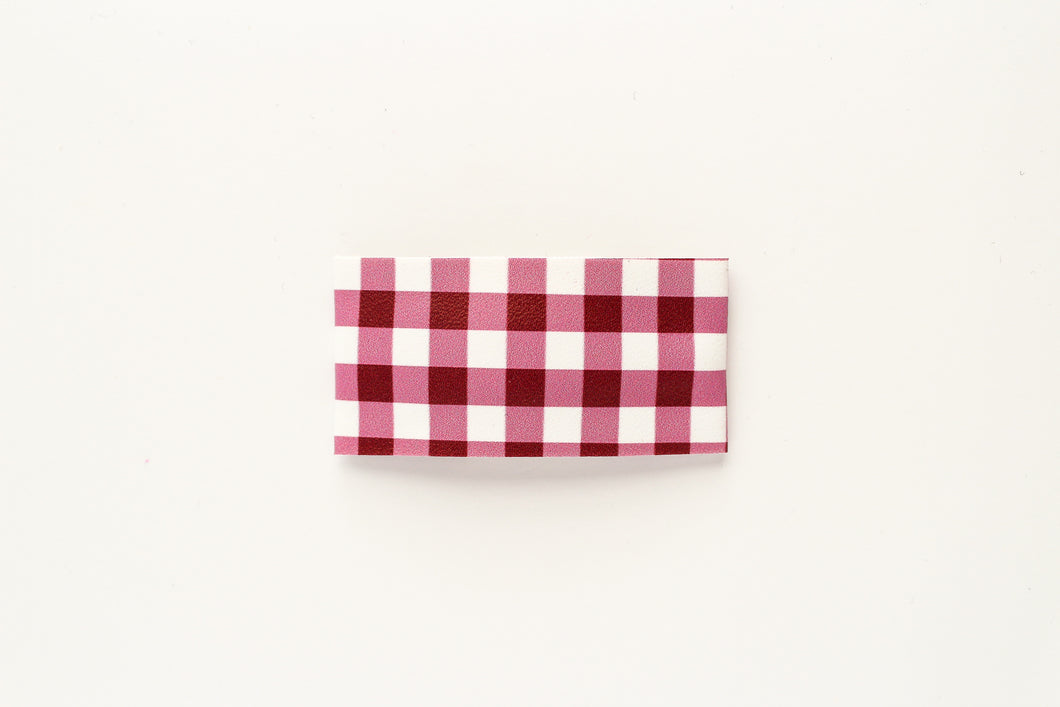 Berry Gingham Faux Leather Snap OR Bar Clip