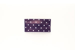Navy Dot Faux Leather Snap Clip