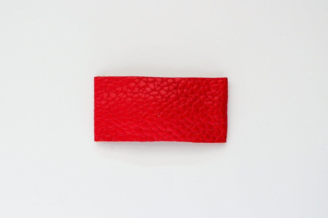 Red Faux Leather Snap Clip
