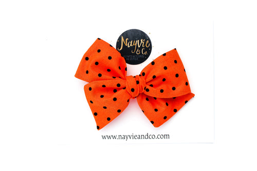 Orange with Black Dots Hand-tied Bow