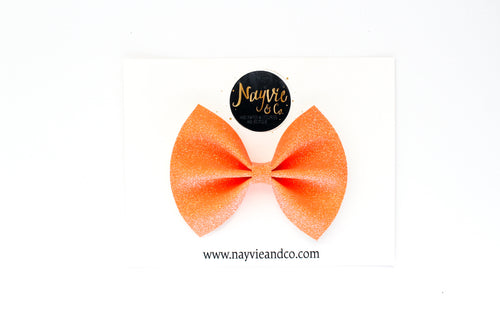 Orange GLOW IN THE DARK Fine Glitter Bow