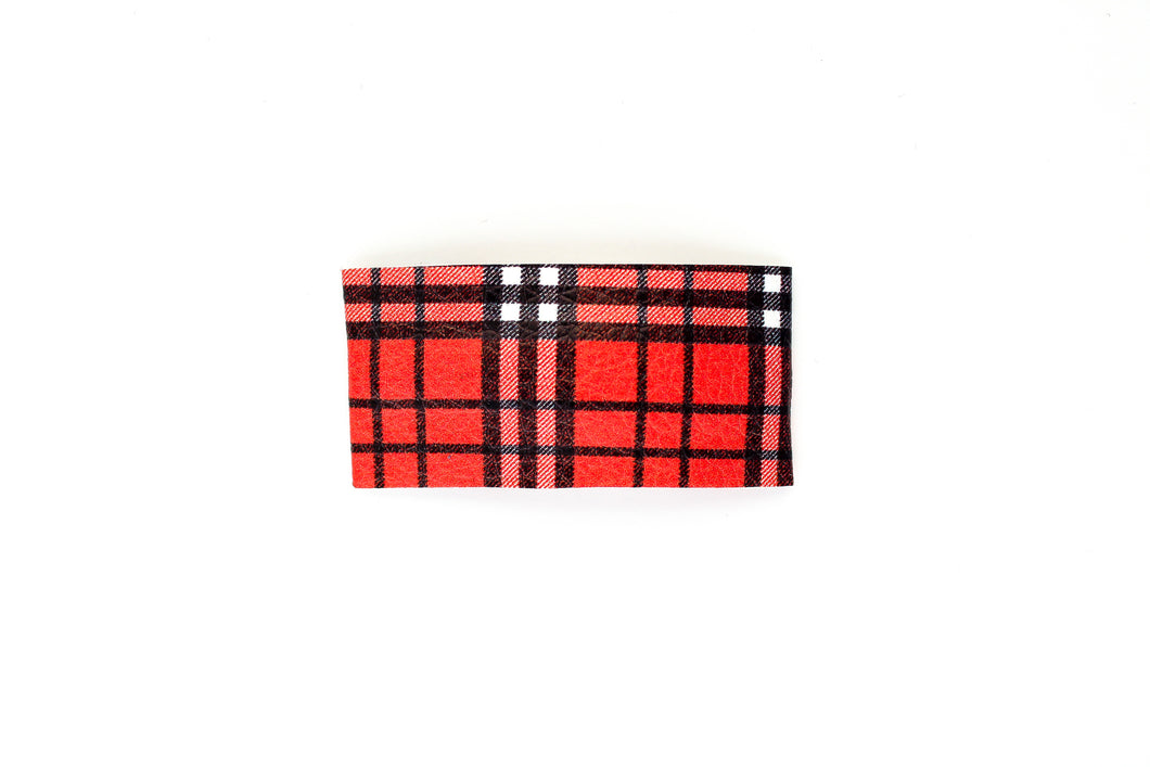 Halloween Plaid Faux Leather Snap Clip