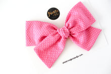 Itty Bitty Pink Polka Dot Hand-tied Bow