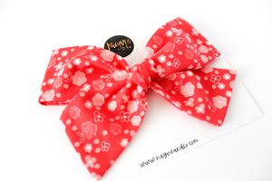 Ditsy Floral on Red Hand-tied Bow