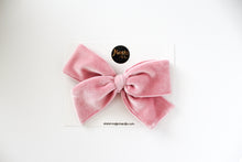 Baby Pink Velvet Hand-tied Bow