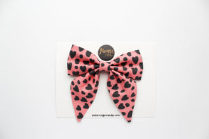 Pink Leopard Hearts Fabric Sailor Bow
