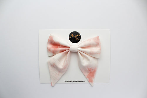 Pink Marble Tie Dye Sailor Bow